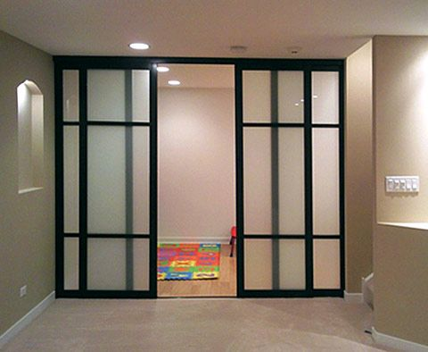 Glass door home office dividers office partitions for Sliding door partition wall