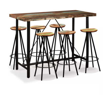 Vidaxl Bar Set 7 Pieces Solid Reclaimed Wood In 2020 Pub Table Sets Bar Table And Stools Bar Table