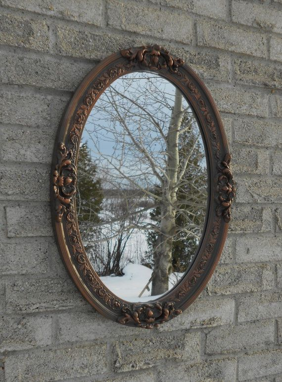 Wall Oval Mirror With Oil Rubbed Bronze Color Frame Oval