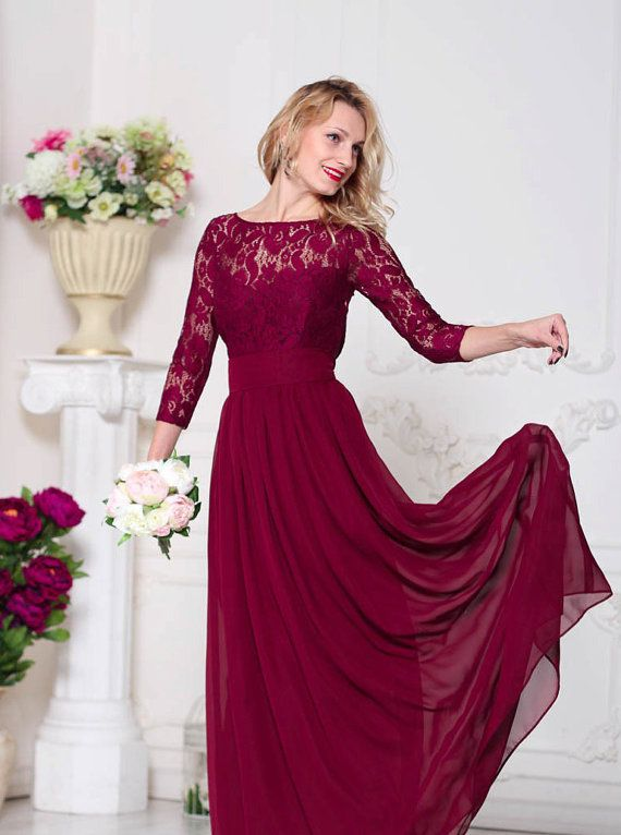Marsala Evening Dress Maxi Burgundy Lace Formal By Dioriss On Etsy