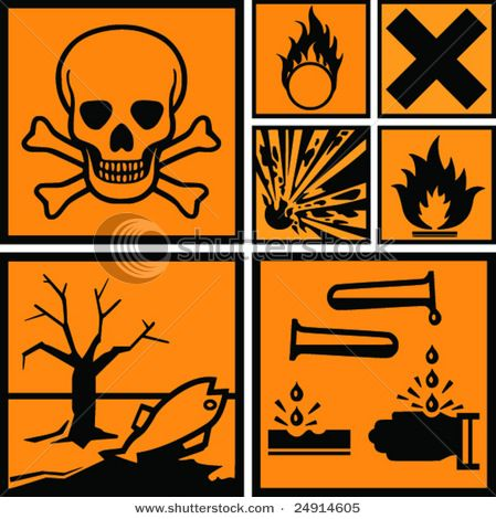 Symbols of Danger, Poison, Pollution, Hazardous Waste, Explosives ...
