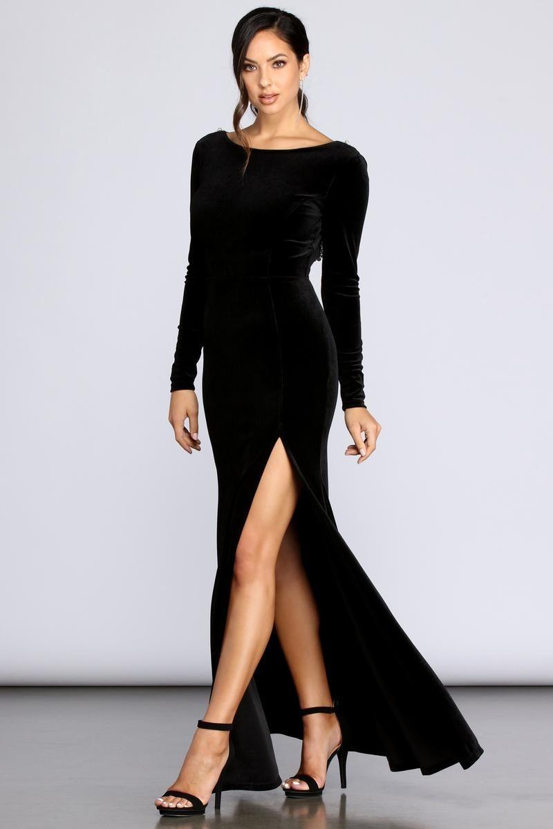 Everly Formal Velvet And Pearl Dress In 2021 Black Bridesmaid Dresses Long Long Sleeve Dress Formal Long Sleeve Bridesmaid Dress [ 1200 x 800 Pixel ]