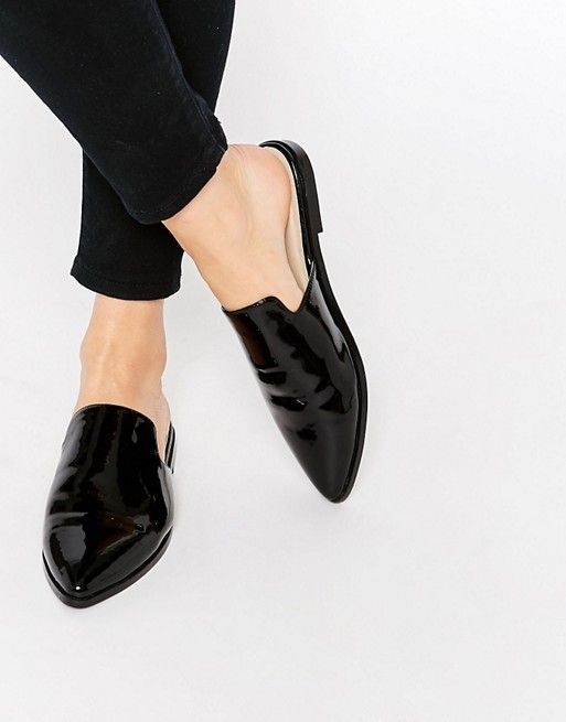 Flat Mules | Patent leather loafers