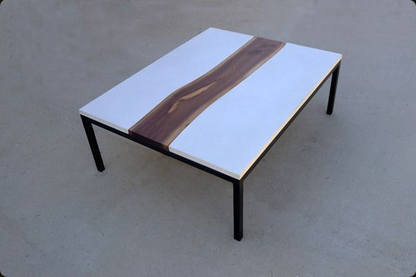 Custom Made Concrete Steel And Live Edge Walnut Table Natural - Custom made concrete table