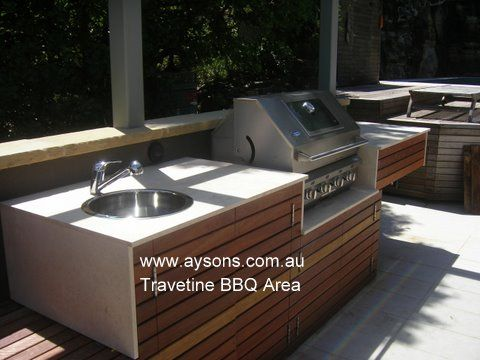 Travertine BBq area.   Aysons Marble & Granite bench tops   Pinterest