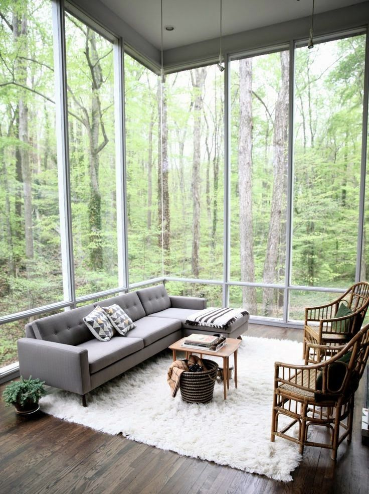 Home Interior Design  Beautiful room to sit in and watch the rain. [736.