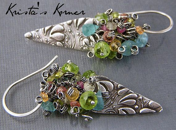Signature Original Earring Style Gemstone Earrings PMC Recycled Silver Charms