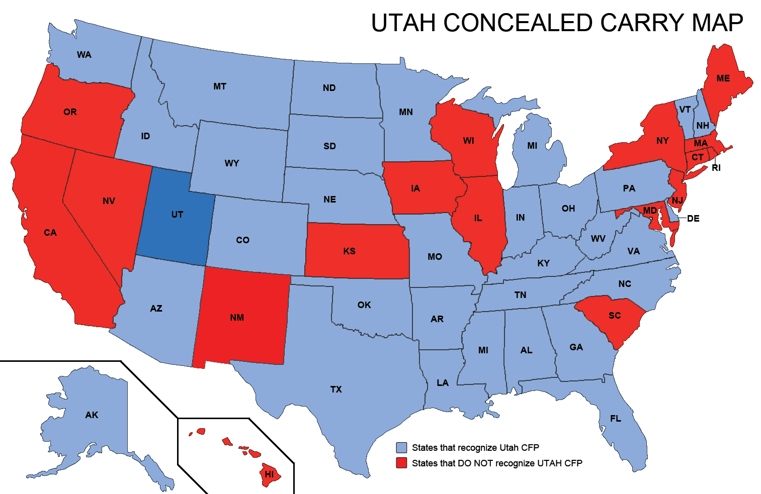 Utah Concealed Weapons Permit Reciprocity Map | misc | Pinterest ...