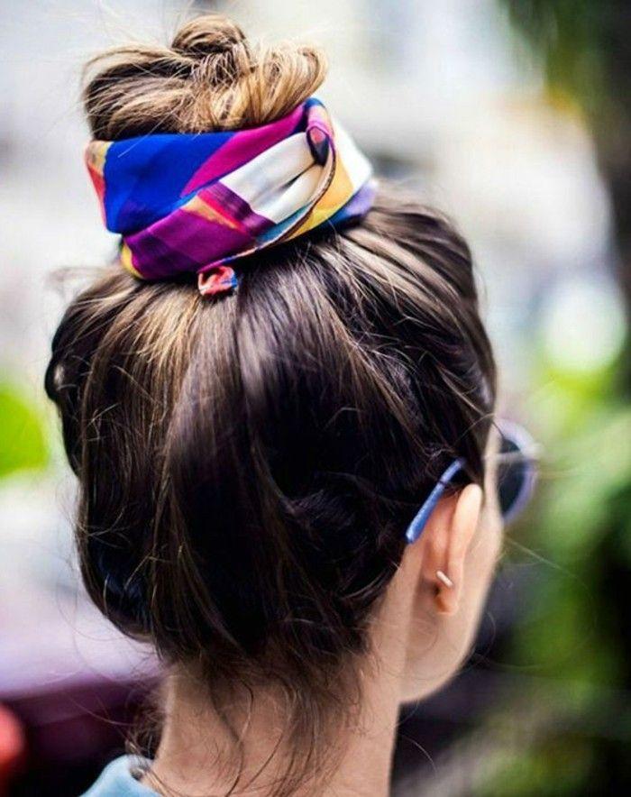 1001 idées pour coiffures avec foulard dans les cheveux | Coiffure, Chignon, Coiffure avec foulard