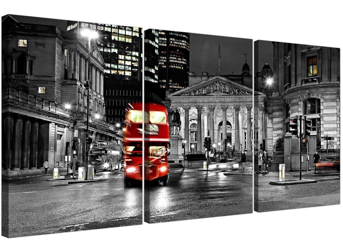 Red London Bus On A Black White Background Canvas Wall Art 3 Panel For Your Living Room Wide City Canvas Cities Canvas Framed Canvas Prints Modern Poster