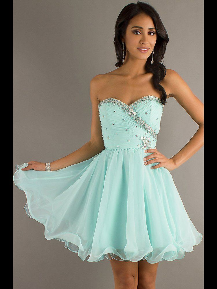 FancyGirl — Sweet Light Sky Blue Sweetheart Mini Prom Dress ...