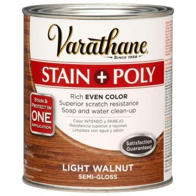 Varathane 1 Qt Light Walnut Stain And Polyurethane 2 Pack 266171 The Home Depot Staining Wood Grey Stained Wood Varathane Stain
