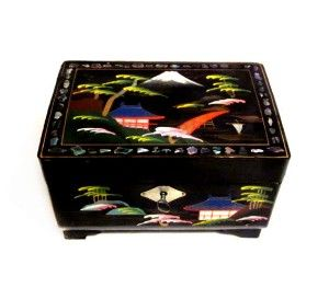 Vintage music box painted black lacquer abalone shell inlay japanese