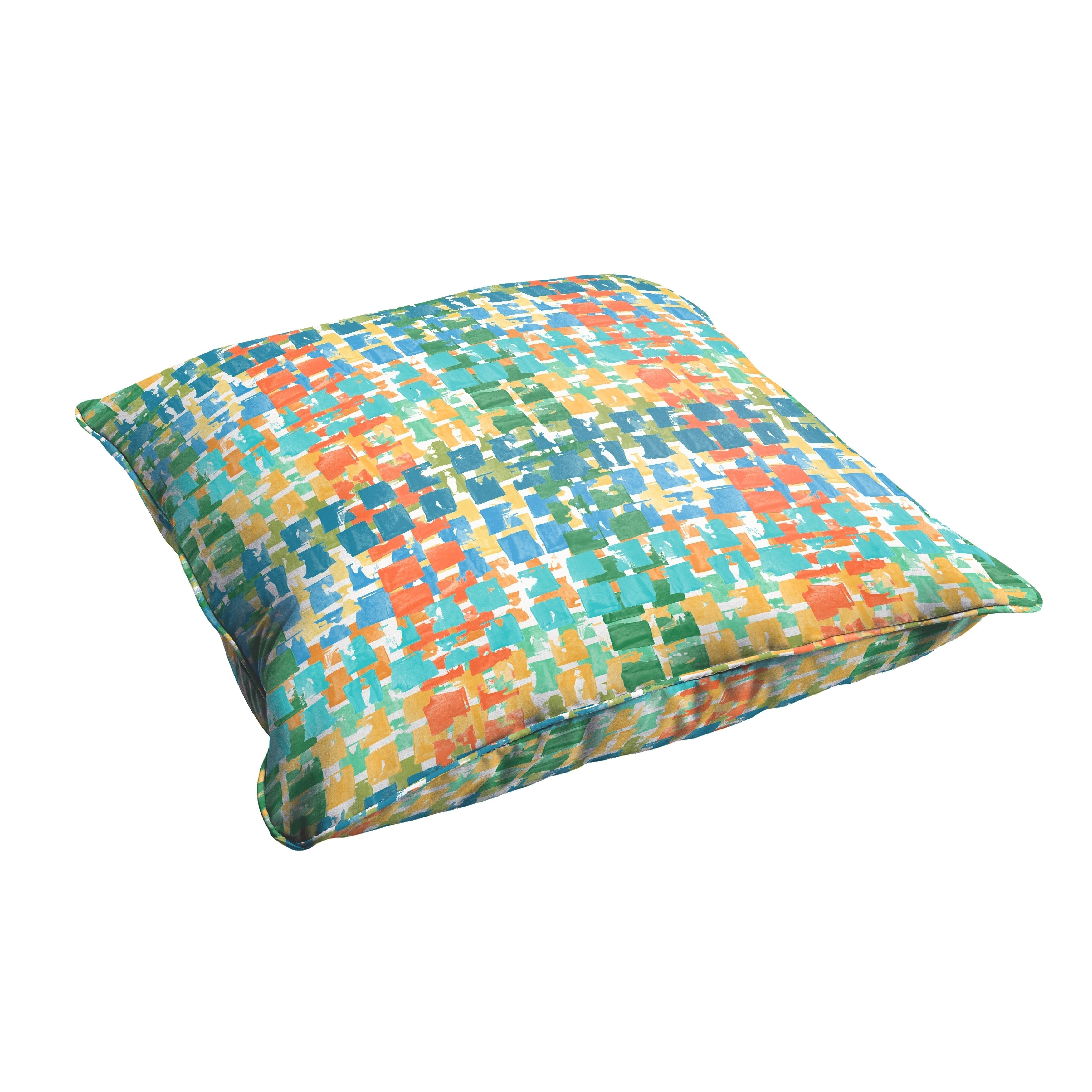 Selena Grey Gold Squares 26 x 26-inch Indoor/ Outdoor Corded Edge Floor Pillow (OSPS4785), Blue (Fabric), Outdoor Cushion