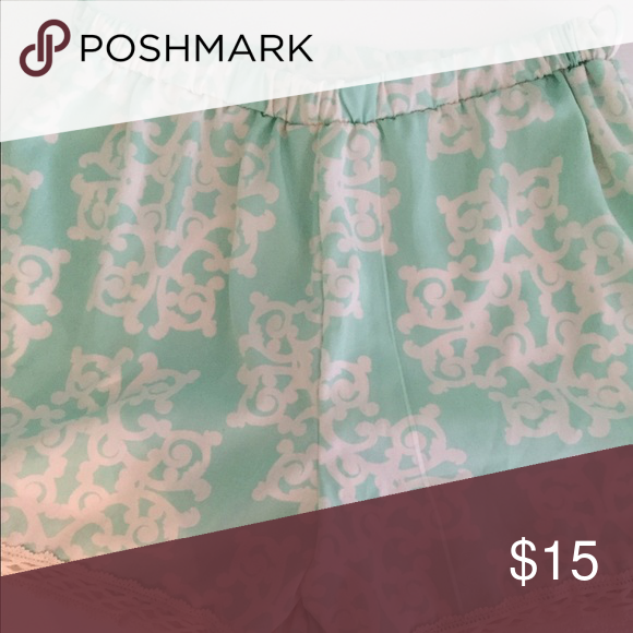 Patterned Shorts Peach Love mint green and ivory pattern Shorts