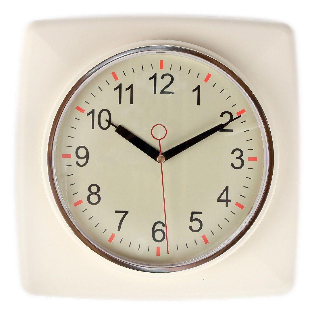 Lily\'s Home Square Retro Kitchen Wall Clock, Large Dial Quartz ...