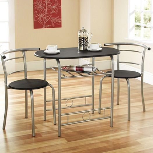 Stylish Compac 3 Piece Dining Set Table Chairs Kitchen Furniture