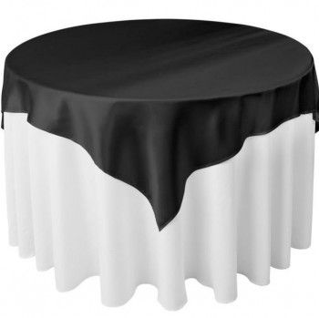90 X 90 Polyester Black Tablecloth Or Overlay....silver Charger, White