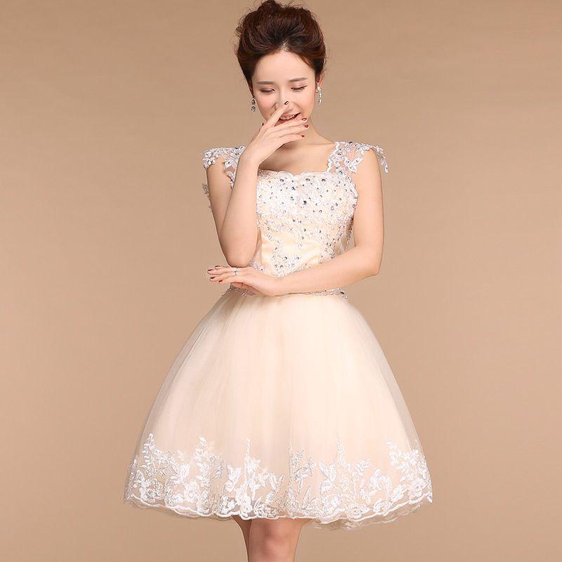 2015 new arrival elegant design champagne short prom dress for women ...