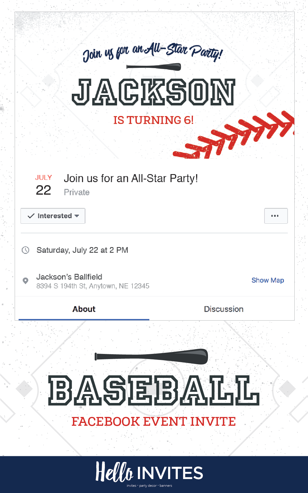 Baseball Birthday Facebook Event Invitation Red Blue Boy Invite Bat Field Digital Printable