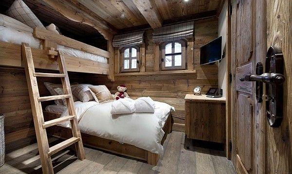 Einbau-Bett mit Leiter – Einrichtungsideen im Stil Berghütte ...