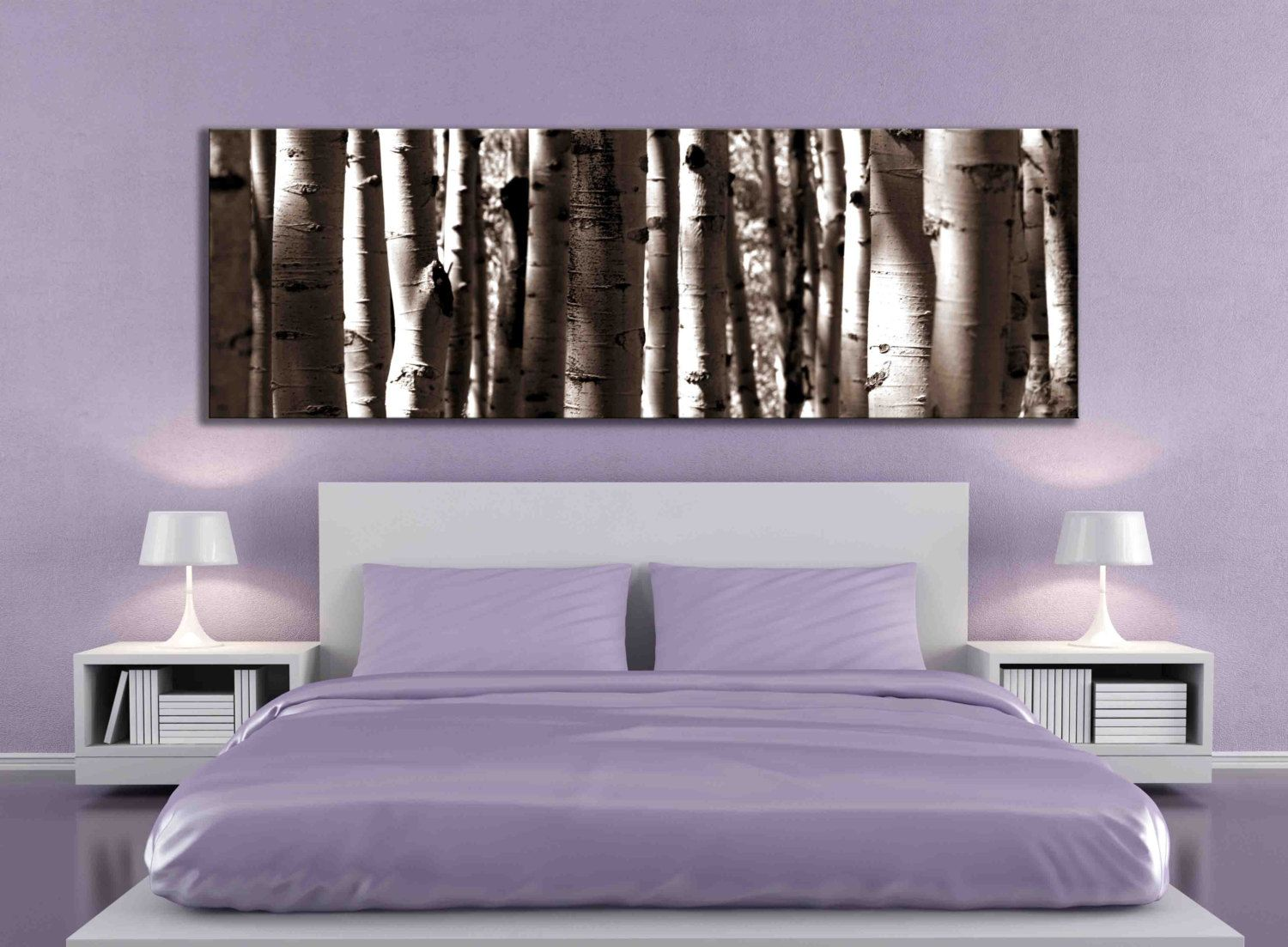 sepia panoramic aspen tree 20x60 inch or 12x36 canvas print large