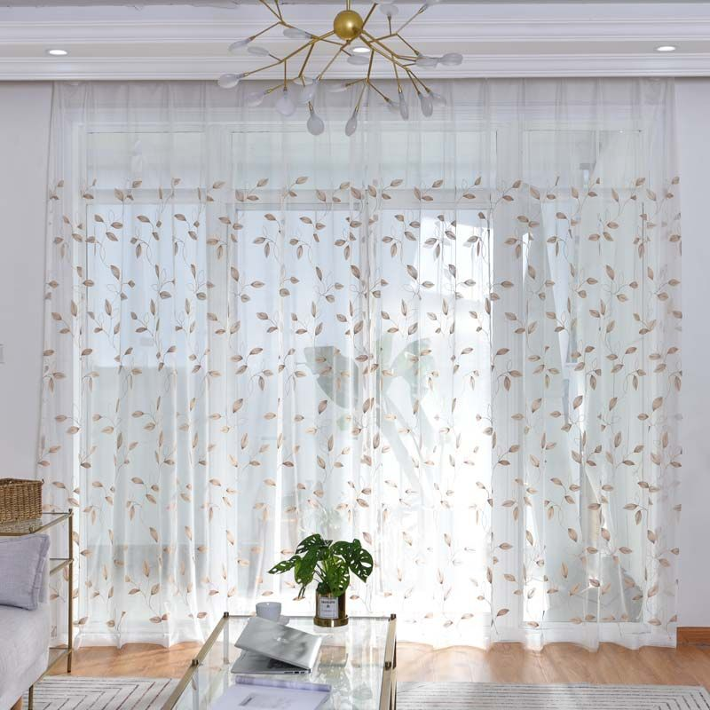 Nordic Simple Sheer Curtain Leaves Embroidery Sheer Curtain