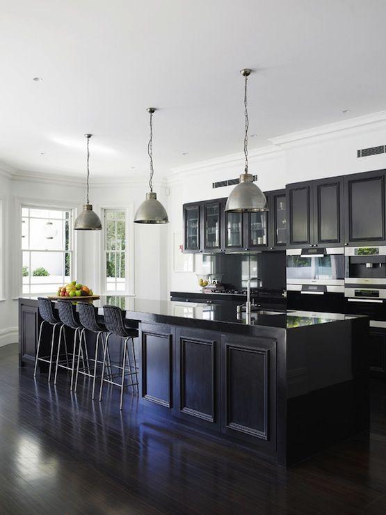 black cabinets countertops backsplash industrial pendants contemporary kitchen design on kitchen decor black countertop id=40608