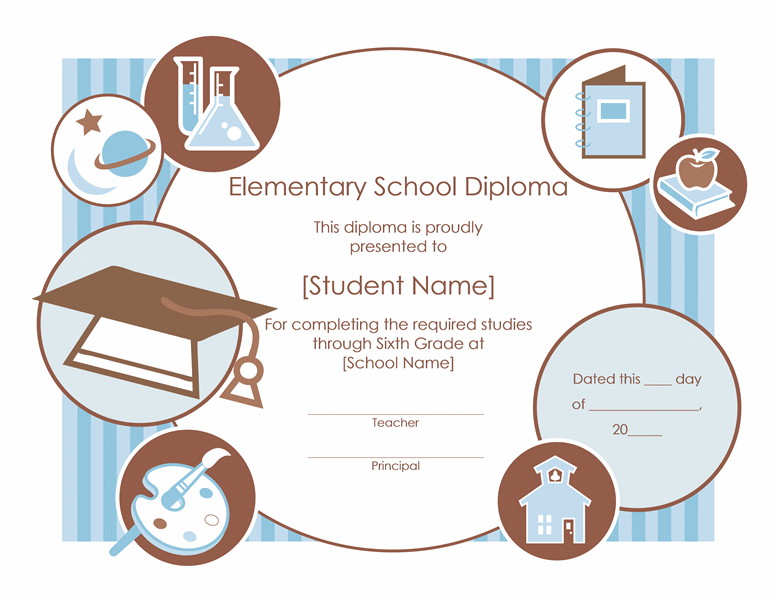Elementary school diploma certificate template templates i love elementary school diploma certificate template yadclub Image collections