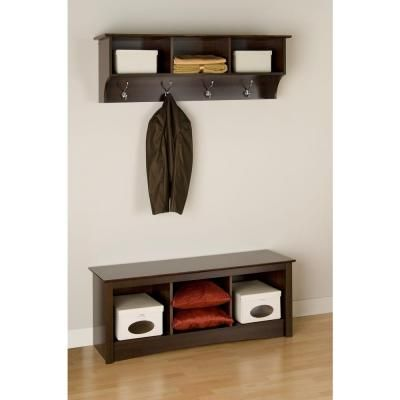 Prepac Fremont Wall Mounted Coat Rack In Espresso Eec 4816 The Home Depot Entryway Wall Shelf Entryway Cubby Shelf Entryway Furniture