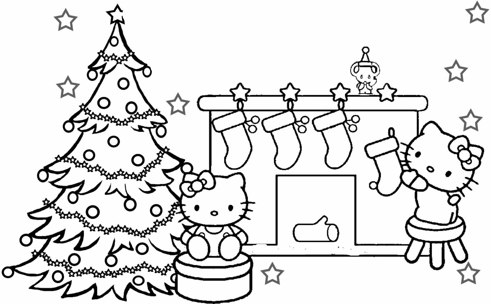 Hello Kitty Happy Merry Christmas Coloring Pages Free Kids ...