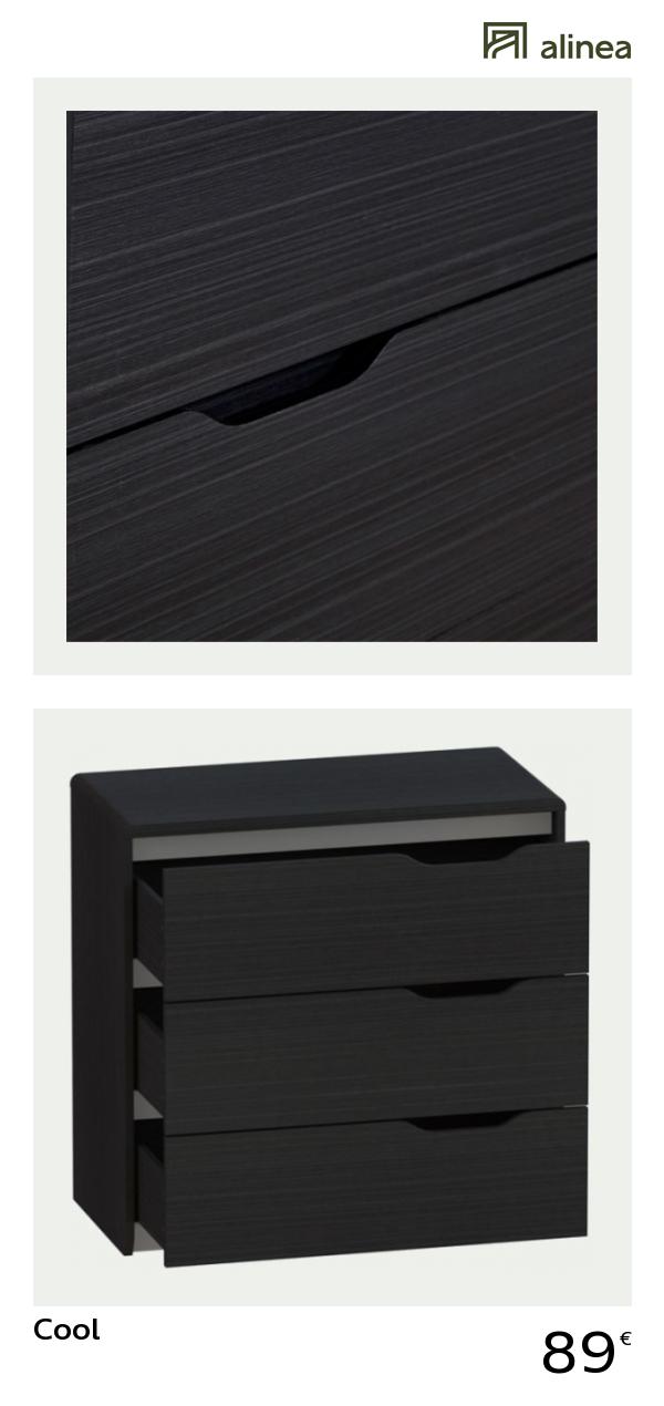 Alinea : Cool Commode Noire 3 Tiroirs Poignées Réversibles Meubles Chambre  Commodes   #Alinea #