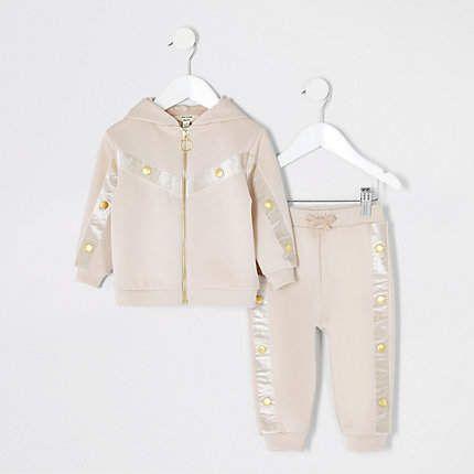 various design low price sale get online River Island Mini girls RI Active beige tracksuit set in ...