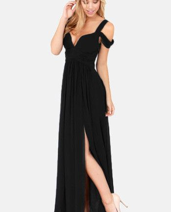 Zwarte strapless maxi dress