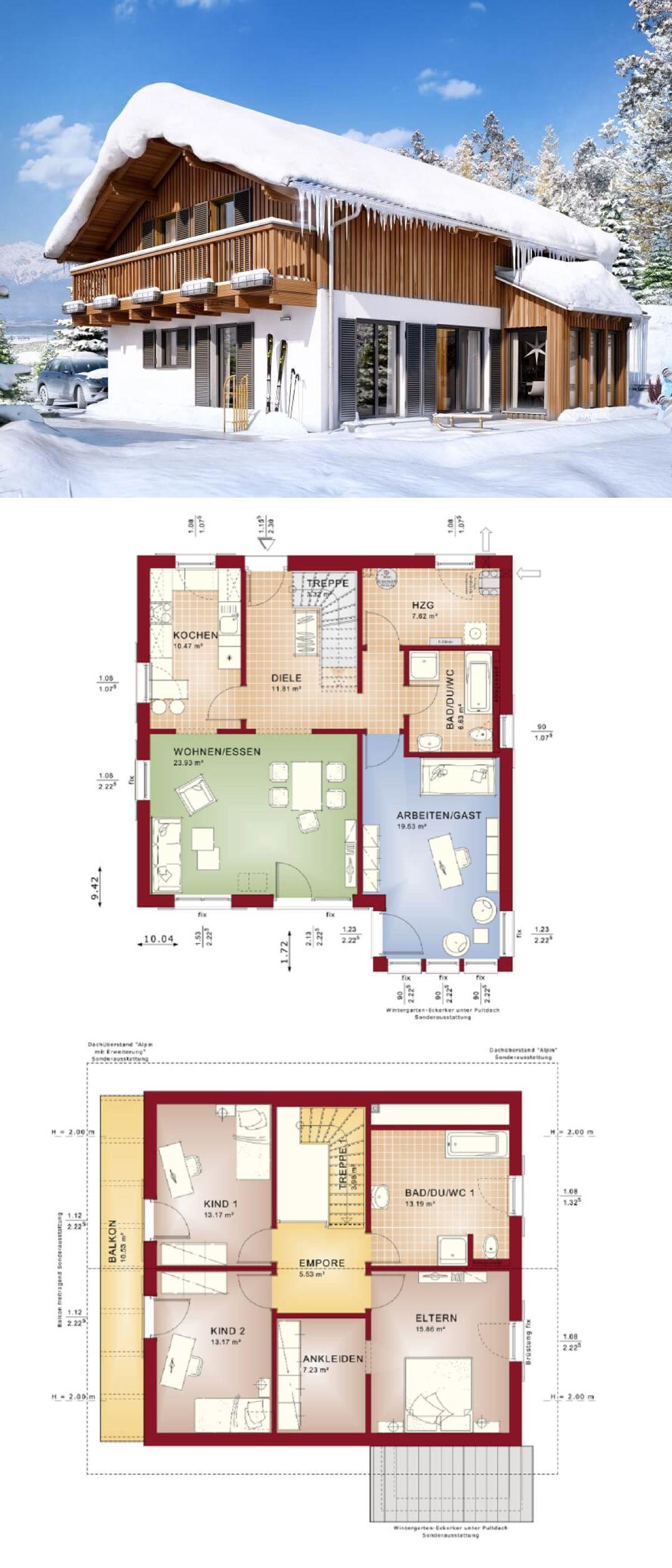 Hauspläne einfamilienhaus neubau  Einfamilienhaus Neubau im Alpenstil mit Satteldach & Holzfassade ...