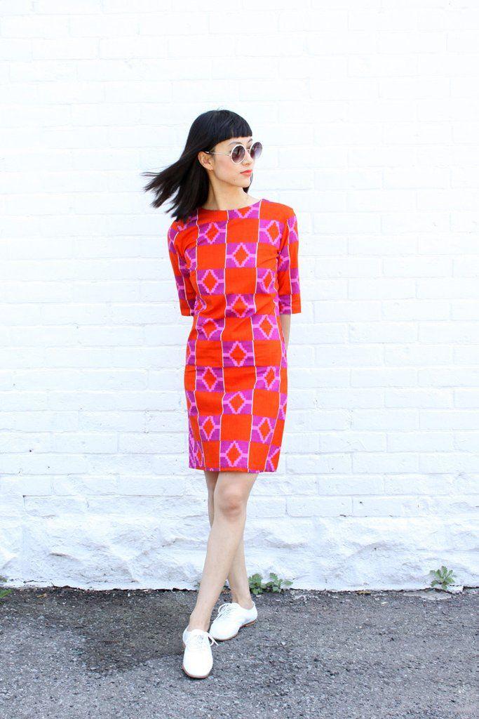 Osei Duro Clothing Muto Dress in Hibiscus block print Made