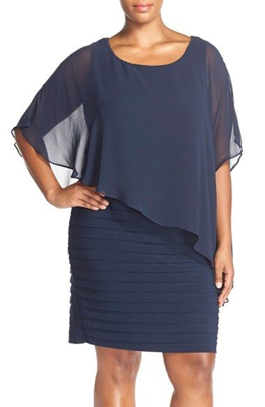 424840141e6 Adrianna Papell Chiffon Overlay Shutter Pleat Sheath Dress (Plus Size)  available at  Nordstrom
