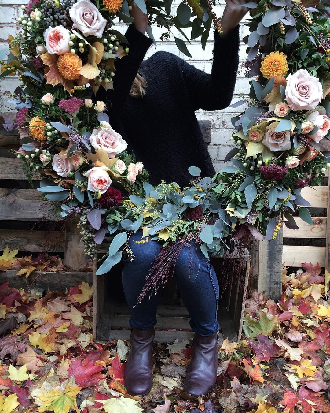 "Anna Potter on Instagram: ""First wreath of the season. Go big or go home. """