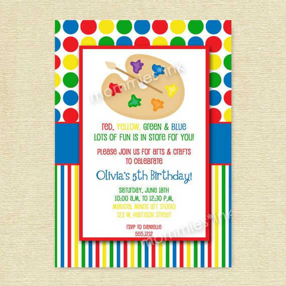 image regarding Free Printable Paint Party Invitations identify Arts and Crafts Birthday Celebration Invitation, Portray Bash