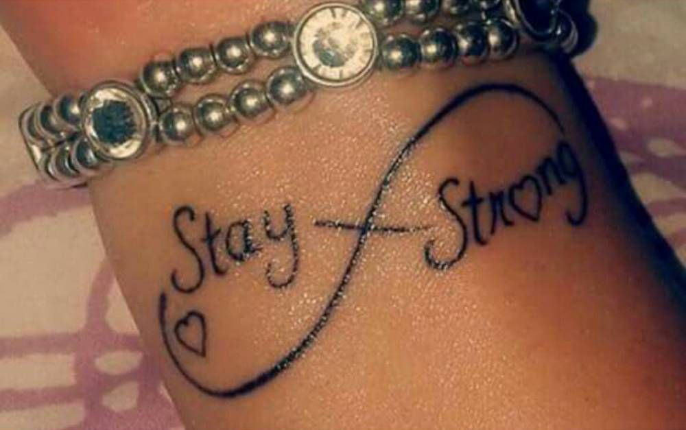 Wrist Tattoo Of The Infinity Symbol Saying Stay Strong With A