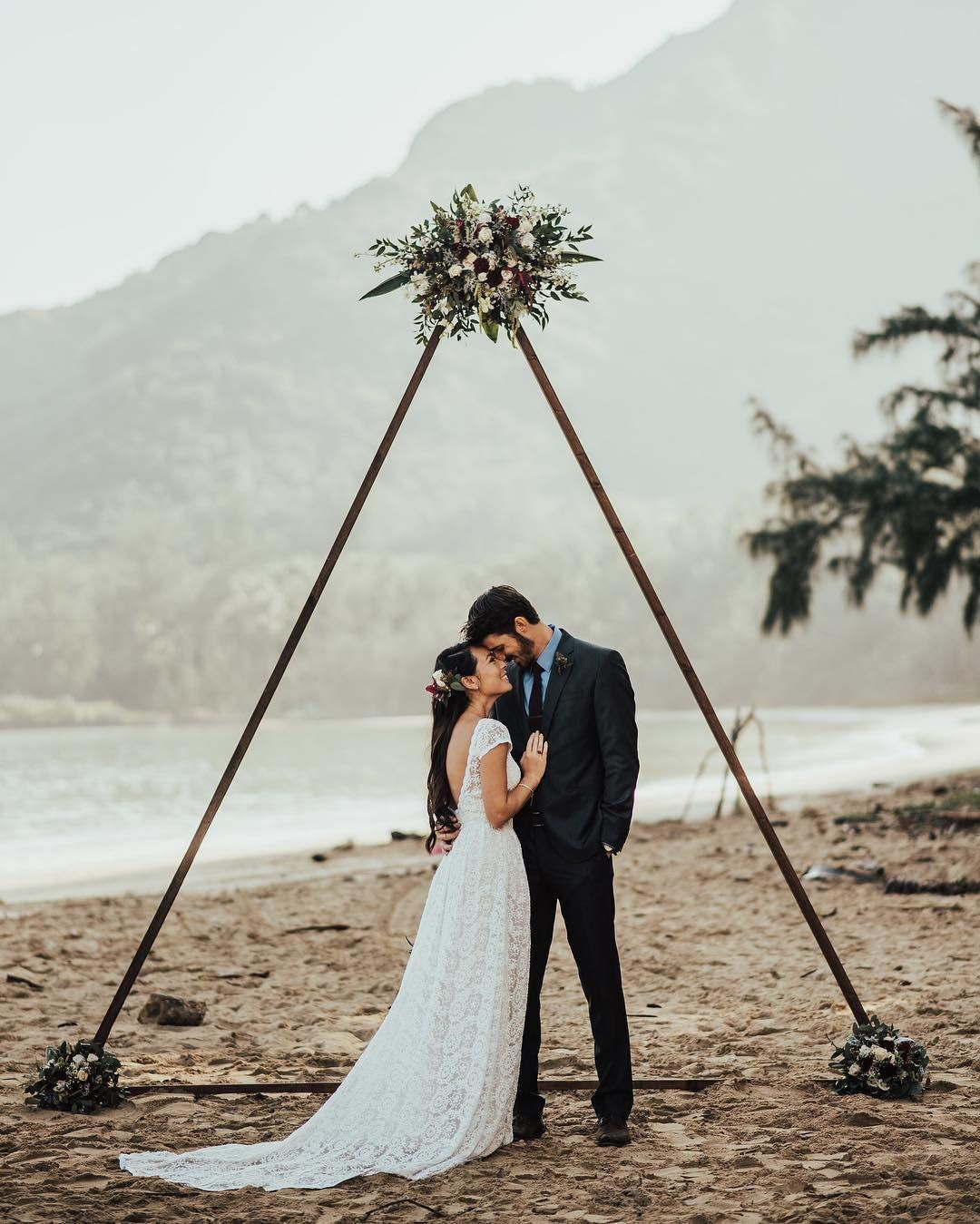 Belongil Beach Wedding Ceremony: Triangle Ceremony Arches Take Your Modern Bohemian Wedding