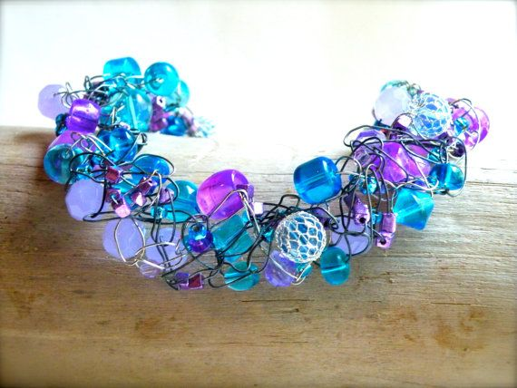 Rhapsody in Blue... Blue Shine and Purple Sheen Mixture of Beads Necklace