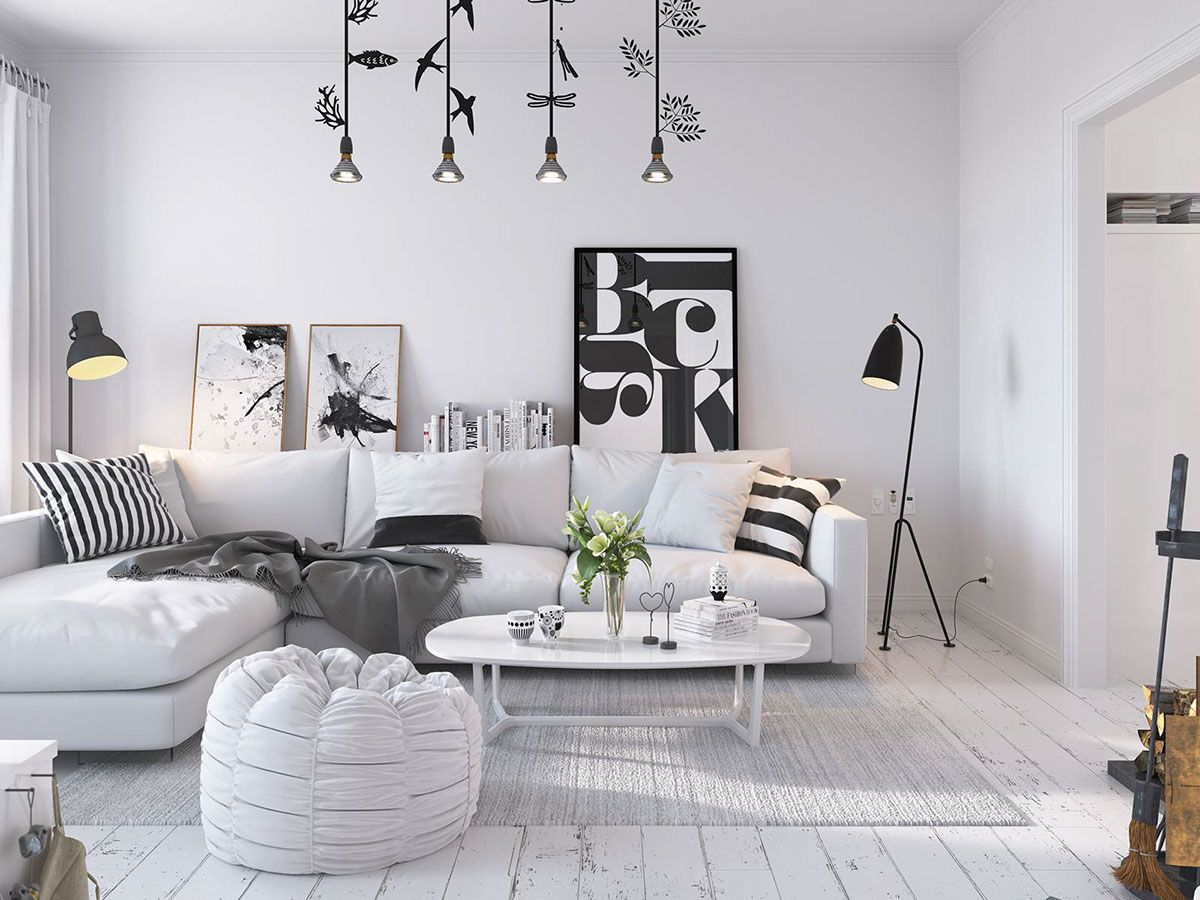 White scandinavian home 3d by sachin mahajan follow Scandinavian wallpaper and decor