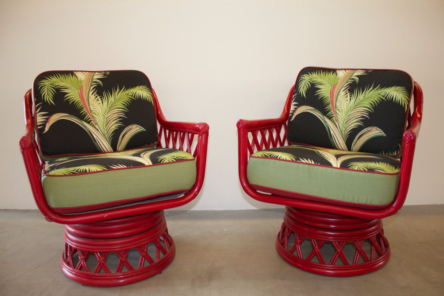 Rattan Swivel Chairs With 1940s Vintage Tropical Barkcloth Fabric Cushions By Glorymagnoliacouture On Etsy Tropical Furniture Swivel Chair Rattan