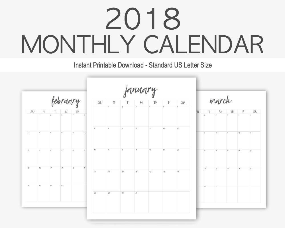 2018 Monthly Calendar: Yearly Calendar, Home Management