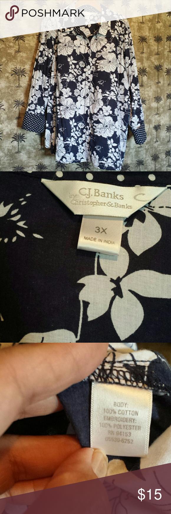 CJ Banks Top Long sleeve button up shirt very light weight Christopher & Banks Tops