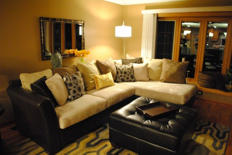 family room with insufficient lighting light yellow walls idea L ...