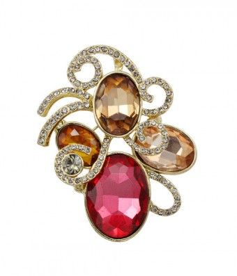 Sparking Large Red Simulated Diamond Flower Brooch