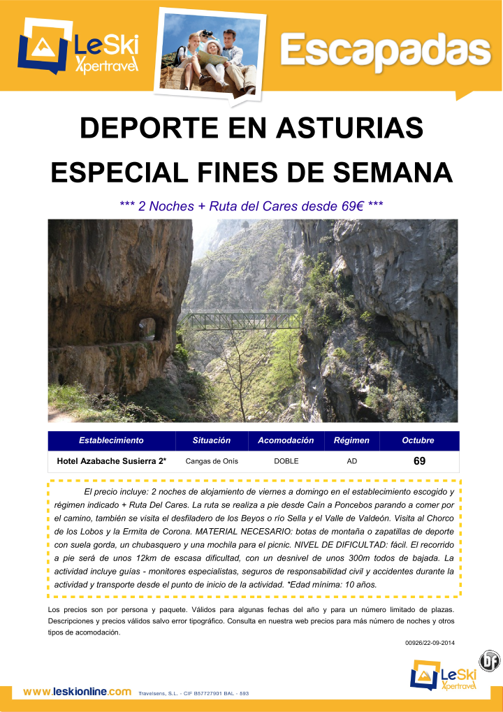 Escapada Deporte Asturias:Fin de Semana Octubre + Ruta del Cares desde 69€ ultimo minuto - http://zocotours.com/escapada-deporte-asturiasfin-de-semana-octubre-ruta-del-cares-desde-69e-ultimo-minuto/