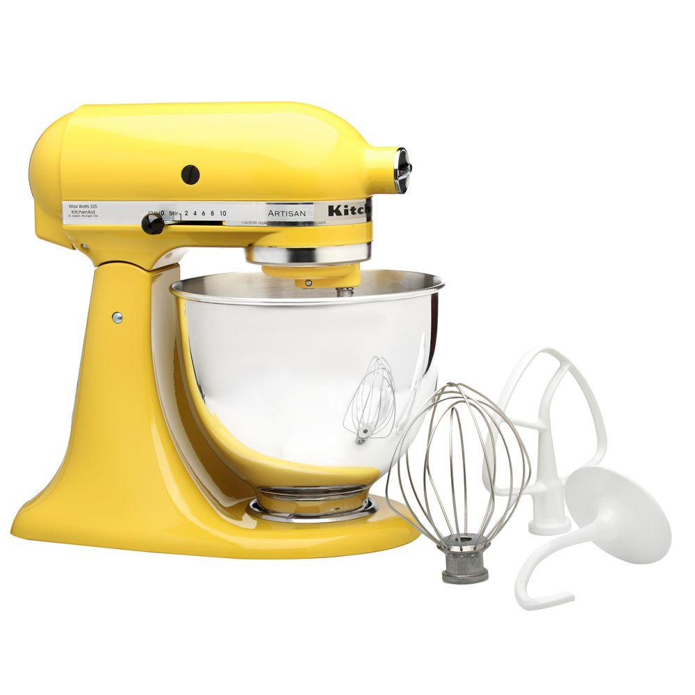 Kitchenaid Rrk150sy Sunshine Yellow 5 Quart Artisan Tilt Head Stand Mixer Refurbished Kitchen Aid Kitchenaid Artisan Kitchen Aid Mixer